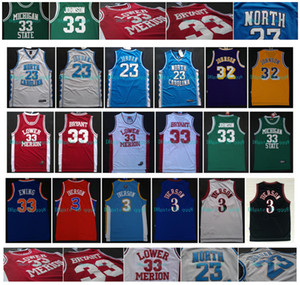NCAA Майкл 23 МДж North Carolina Джерси Нижний Мерион 33 Bryant Аллен Айверсон 3 Магия 32 Джонсон штата Мичиган 100% прошитой Баскетбол