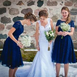 Blue Bridesmaid Dresses 2019 새로운 A 라인 캡 슬리브 티 길이 레이스 웨딩 게스트 가운 명예 복장 주니어 하녀 저렴한 맞춤