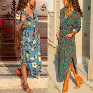 Autumn New Women Wrap V Neck Long Sleeve Shirts A-Line Dresses Casual Waist Bandage Swing Dress Fashion Streetwear Plus Size