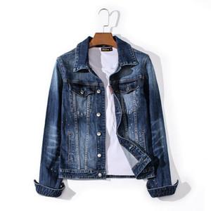 2020 European American famous brand male denim jacket hot seller denim shirt straight patchwork denim jacket L0216