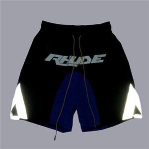 Mens Designer de Verão Shorts Pants Rhude 2020 Verão cordão reflexiva azul Costura Moda Casual Calções de corrida de Fitness High Street