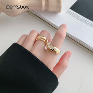 Peri'sBox 925 Sterlingsilber Geometrische Dome Ring Asymmetrische Klassische Bold Goldringe Einzigartige Chunky Ring Minimalist Schmuck
