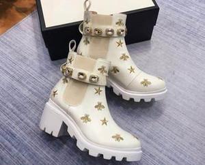 Фирменные женские кожаные Пчелы Звезды Вышитые голеностопного ботинка конструктора Lady Pearls красный Шнурки 6см Коренастый пятки резиновые Lug Sole Boots03