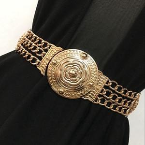 Donna Fiore cinghie di vita delle signore di modo floreale larga elastica del metallo dell'oro della cinghia per il vestito femminile della catena dorata cinghia Ragazze