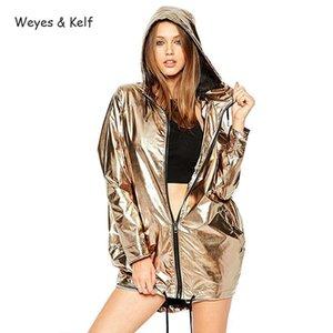 Weyes Kelf impermeável metal solto camisola com capuz mulheres 2.018 longo casaco Parka Mujer Moda Outono Zipper Womens