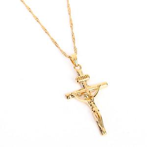 24K Or Couleur Croix Chaîne Hommes Crucifix Collier Pendentif Femmes Jésus Jaune Or Rempli de Bijoux