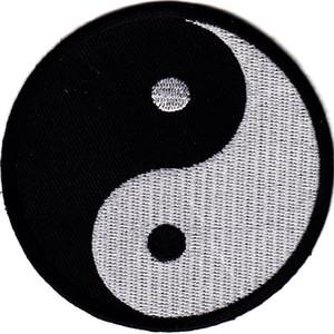 2018 3d umweltfreundliche handgemachte Parches freies Verschiffen 2 PC Klassische Feng Shui Yin Yang Marke Patch-Eisen-auf chinesischen Taoismus Symbol