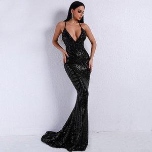 Deep V Neck Sequined Party Dresses Black Maxi Dresses Sleeveless Backless Bodycon Elegant Club Mermaid Dress