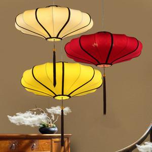 Nuovo stile cinese lampadario ristorante creativo del club ristorante sala da tè negozio piatto caldo stile cinese lanterna rossa della lampada in tessuto antico