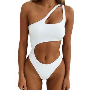 Swimwear Women White One Piece Swimsuit Women 2019 Solid Swimming Suit For Womens Hollow Out Sexy Swim Suit Womens Swimwear