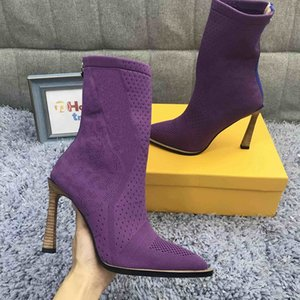Lila gestrickte Socken-Stiefel Winter-Socken-Beuten Frauen Tops Strick Booties Mode Damen Winterschuhe inklusive Box