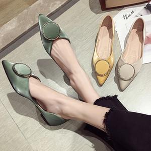 Ballerines d'été chaussures femmes mocassins respirants mocassins confortables célèbre conception ballerine cristal boucle ronde pointu