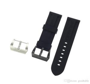 Ремешки для часов Ремни 22мм 24мм Мужская Diver Силиконовая Резина Soprt Ремешок для часов Ремешок с ввинчиванием Серебряная пряжка Relojes Hombre 2016