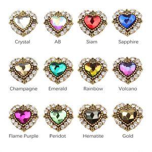 11x12mm Crystal Heart Shape Rhinestone 3d Nail Charms For Nail Art Decorations DIY Glitter Alloy Nails Tools Free Shipping