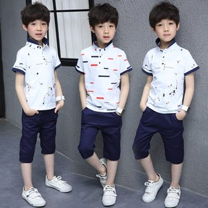 Children's Teenagers Boys Summer White Cotton Short Sleeve t shirt +Shorts 2pcs Tracksuit Clothing Sets For Boys School Sports Sets New