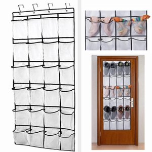 The Door Shoe Organizer 24 Mesh Pockets Non-woven Net Fabric Hanging Shoes Cabinet Door Organizers Storage Bag HH9-2239