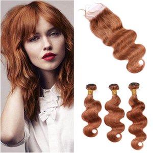 """# 30 Auburn Virgin Hair Связки и закрытие Medium Auburn перуанский Body Wave переплетения человеческих волос с Lace Closure 4x4"""""""