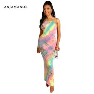 ANJAMANOR 섹시한 넥타이 염료 인쇄 고삐 등이없는 긴 맥시 드레스 비치 파티 캐주얼 여름 드레스 2019 Vestidos 드 베라 노 D41-AB54