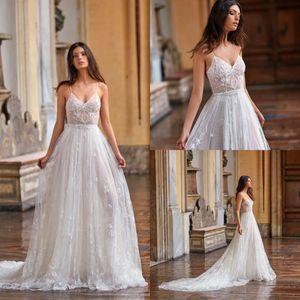 Gali Karten playa vestidos de novia de encaje apliques una línea-espagueti Vestidos de novia 2020 de Boho del tren de barrido sin mangas vestido de novia de Bohemia