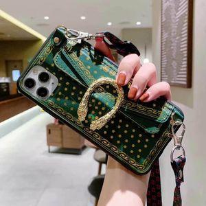 Metal Snake clásico del teléfono del diseño para el iPhone 11 de la ranura del sostenedor Pro XS MAX XR 8 8Plus 7plus 7 Plus tarjetas con alta calidad X 11Pro cubierta + Correa