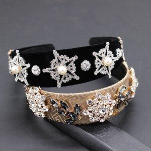 Yeni Barok beş köşeli yıldız elmas taklidi inci geometrik saç bandı Barok moda kokteyl lüks kişilik 879 saç bandı