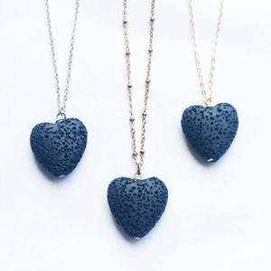 Горячее сердце Lava Rock кулон ожерелье 9 цветов Ароматерапия Эфирное масло Диффузор в форме сердца камень ожерелья