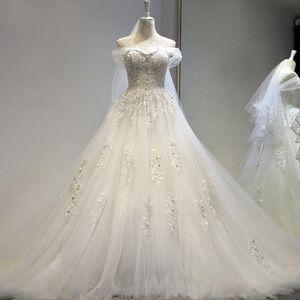 Роскошные Бисером Вышивка Линии Свадебные Платья 2020 Принцесса Платье Корсет Милая Органза Собор Поезд Свадебные Платья Дешевые