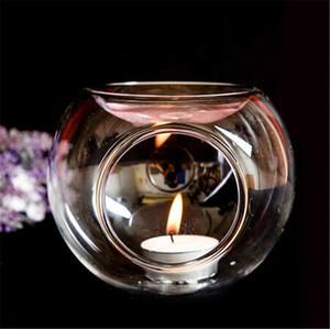 3 taille balle brûleur d'encens de chauffage de l'huile de parfum essentiel de support de bougie en verre de cristal de verre thé porte chandelles à la main en amoureux