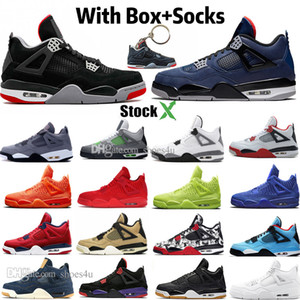 New Bred White Cement 4 4s IV Loyal Blue Cactus Jack Cool Gray Herren-Basketball-Schuhe FIBA ​​UNC Pilz Denim Blue Men Sports Designer Sneake