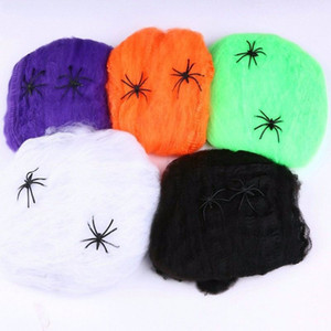 Telaraña de Halloween Telaraña elástica con araña para la fiesta de Halloween KTV Props Bar Haunted House Party Decoration TTA1686