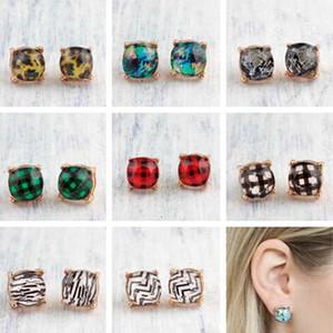 Goujons de pierre de pierre à facettes, boucles d'oreilles léopard Abalone Chevron zigzag résine minuscules goujons boucles d'oreilles fille cadeau mignon gouce de bretelles boucles d'oreilles