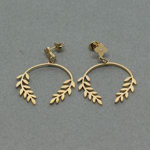 1Pair Women Fashion Stainless Steel Leaf Crystal Ear Hoop Earrings Jewelry Gift Romantic Ornaments Jewelry Accessories