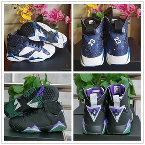 2019 New 7 Ray Allen Black Fierce Purple Mens Basketball Shoes Good Quality 7s Blue Star Men Athletic Designer Sports Sneakers