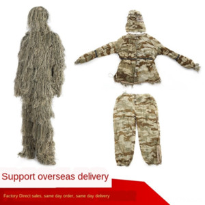 Outdoor jungle Burr chicken-eating hunting bird-watching invisible Geely clothing jungle fur silk camouflage clothing