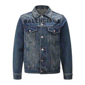 New motorcycle Stripe printing denim jacket high fashion designer famous Denim Slim windbreaker jacket Mens jean clothing Denim jacket