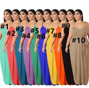 Women plain casual maxi dresses Xl-5XL bandage plus size stretch spaghetti strap solid color fashion summer casual loose clothing DHL 3269