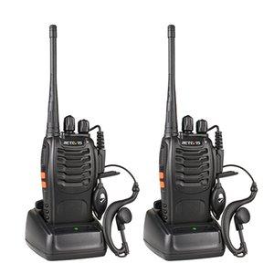 2 unids Retevis H777 Walkie Talkie 16CH Radio USB de 2 vías con auricular Dispositivo de comunicación portátil Walkie Talkie Transmisor de radio