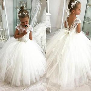 Princess 2020 белый Симпатичные девушки цветка платья Vintage бальное платье аппликация Дочь малышей Довольно Дети Формальное Первое причастие мантий