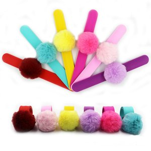6styles plush ball Silicone snap ring fur Bracelet wrist strap Jewelry wristband party gift kids gift favor FFA2802