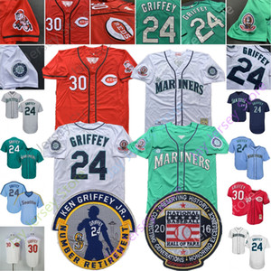 Ken Griffey Jr Jr. Jersey 2016 Hall Of Fame Jerseys 1995 1995 Teel Verde Vintage preto das riscas Tudo costurado