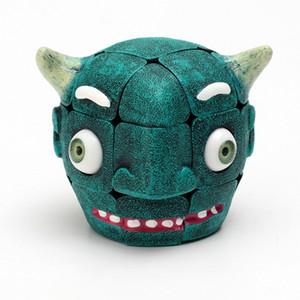 새로운 제품 뜨거운 검은 예복 악마 머리 모양의 부드러운 소 머리 3 큐브 퍼즐 어린이 교육 창조적 인 장난감 선물
