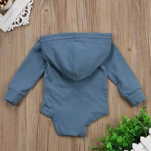 Toddler Baby Boy Clothes Solid Long Sleeve Navy Blue Hooded Bodysuit   Sweatshirts