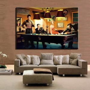 Poster clássico moderno pintura da lona Elvis Presley, Humphrey Bogart, Marilyn Monroe jogar bilhar Wall Art Imagem Home Decor