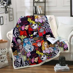 Plstar Cosmos Halloween Toison film d'horreur Couverture de Scream équipe Zombie brid Blanket impression 3D Sherpa style 3 chambres d'accueil