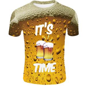 Sommer Männer Frauen T-Shirt 3d T-Shirt Marke Oansatz Uhr T-Shirt Bier Kurzarm T-Shirt 3d Streatwear Homme Größe 4XL