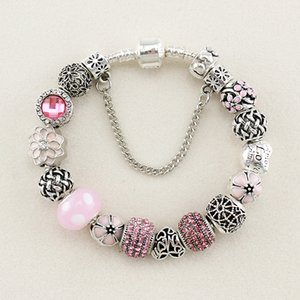 2020 New Fashion DIY Pink Girl Series Dripping oil flower Bead Bracelet Pink Bead Beautiful Women Symbol Love Gift Wholesale