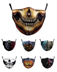 Lavável Crânio Rosto Joker Mask Impressão Digital Adulto Respirador abóbora de Halloween máscara de caveira Proteção Algodão
