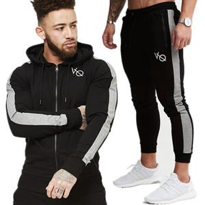 Erkek Kazak Ve Sweatpants Setleri Rahat Moda Spor Hoodies Ceket Pantolon Erkek Spor Salonları Spor Joggers Egzersiz Eşofman