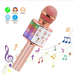 Wireless Karaoke Microphone Bluetooth Handheld Portable Speaker Home KTV Player with Dancing LED Lights Record Function