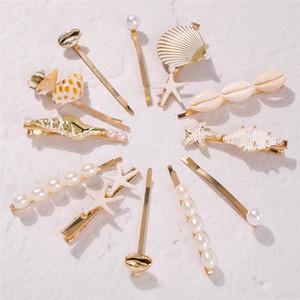 Hot marine series beach wind conch shell starfish horquilla conjunto de tres piezas de word clip 4 STYLES 2SET
